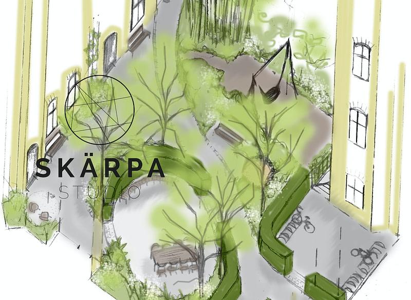 takträdgård bjälklag gestaltningsförslag växtkomptens dagvatten Bostadsrättförening landskap arkitekt trädgårdsingenjör trädgård Lund Malmö Skåne